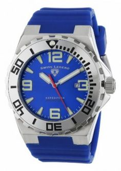 """Relógio Swiss Legend Men's 10008-03SET """"Expedition"""" Stainless Steel, Blue Silicone, and Blue Dial Watch Set #Relogio #SwissLegend"""