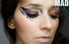 mad max inspired artistic makeup in blue and brown