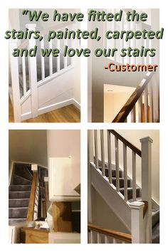 We supplied two flights of double winder stairs running from the ground to second floor, manufactured from softwood. The client chose 35mm square redwood spindles and newels with pyramid caps, together with whitewood treads, MDF winder treads and ply risers.  All visible parts were painted white, with an oak handrail providing an attractive contrast.