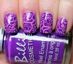 Purple and Pink Swirly Stamping Manicure | Lindsey's Lacquer