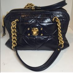 """Marc Jacobs quilted Ines handbag blue gold Gorgeous authentic Marc Jacobs purse . Ines style! Quilted navy blue leather with gold hardware. Two large side pockets with zippers and open middle section. So classy!    Depth: 6""""      Length: 13"""".  Strap drop:6.5"""". Height: 8.5"""" Marc Jacobs Bags Satchels"""