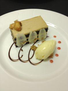 Chocolate Espresso Cake with Hazelnut Cream and Smoked Almond Ice Cream