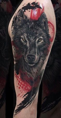 wolf tattoo with trash polka touches © tattoo artist Chehomova Dasha 💕📌. - wolf tattoo with trash polka touches © tattoo artist Chehomova Dasha 💕📌💕📌💕 - Wolf Sleeve, Wolf Tattoo Sleeve, Sleeve Tattoos, Tattoo Wolf, Tattoo Arm, Tattoo Finger, Snake Tattoo, Lion Tattoo, Compass Tattoo