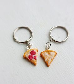 Pizza Best Friends Keychains, Pepperoni and Cheese - Food Keychains - Best Friend Jewelry