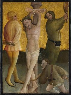 The Flagellation. Artist: Master of the Berswordt Altar (German, Westphalian, active ca. 1400–35) Date: ca. 1400 Medium: Oil, egg(?), and gold on plywood,