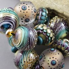 Magma Beads ~Swirles~ Handmade Lampwork Beads.