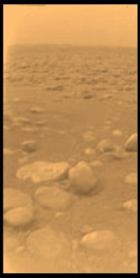 Surface of Saturn's moon Titan taken by ESA's Huygens probe which landed on Titan on January 14, 2005 near the Xanadu region. This was the first landing ever accomplished in the outer solar system.