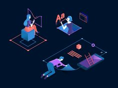 Illustrations for a digital design application. Using an isometric view, which makes them easy to combine.