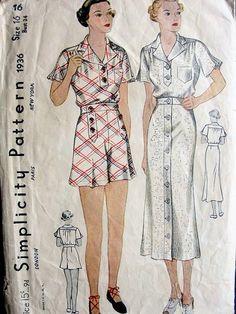 Simplicity 1936 • 1930s playsuit vintage sewing pattern