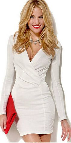 Spring/autumn Winter Office/Formal Casual Purity Elegant V-neck Long Sleeve Dresses for Women Girl Ladies DCD-338899