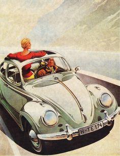 Affiche Allemande, vintage Volkswagen - Atomic Samba.