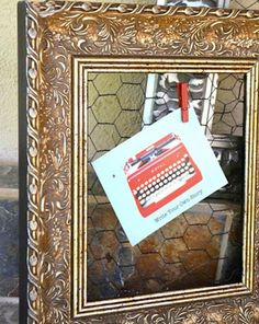 Ornate Gold Chicken Wire Frame and Memo by ReinventingOrdinary, $25.00