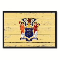 New Jersey State Flag Art Shabby Chic Gift Ideas Office Home Décor 8430 #spotcolorartcom #Vintage