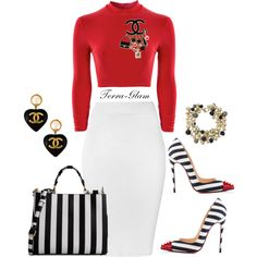 Striped Glam by terra-glam on Polyvore featuring polyvore fashion style Boohoo Glamorous Christian Louboutin Dolce&Gabbana Chanel