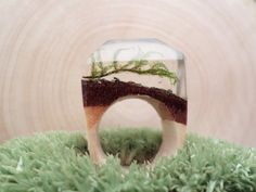 Wooden ring with moss wood resin jewelry for a by ZieleNaCiele