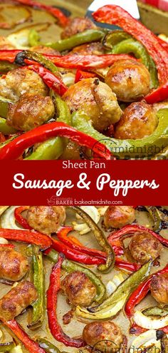 Hot Sausage, Sausage And Peppers, Roasted Meat, Roasted Vegetables, Recipe Sheets, Sheet Pan Suppers, One Skillet Meals, Low Carb Casseroles, Foil Packets