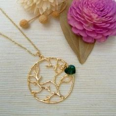 Golden Tree Circle Necklace from MyLittleThing Gold Circle Necklace, Bird Necklace, Pendant Necklace, Golden Tree, Fashion Jewellery Online, Copper, Shoe Bag, Stuff To Buy, Accessories