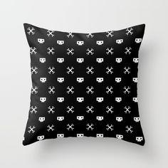 Pixel Skull Pirate White Throw Pillow