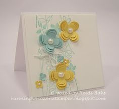 Stamps: Stems & Silhouettes wheel; Paper: Daffodil Delight, Pool Party, Whisper White; Ink: Pool Party; Itty Bitty punch pack, Floral Fusion die.