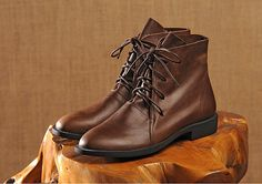 Botas de negro hecho a mano para las mujeres zapatos planos
