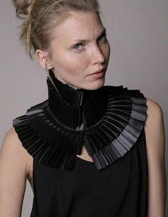 Pleated Collar - black accordion neck piece with layered pleats - fabric manipulation for fashion // Fernanda Pereira