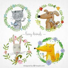 animais engraçados Watercolor Vetor grátis
