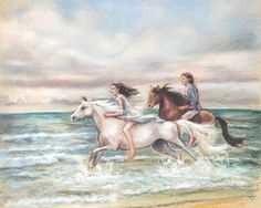 Horses, Beach, wind and sea, couple, Fine art print, romantic art, Laurie Shanholtzer