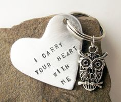 Couples friends unique hand stamped aluminum owl silver color quoted key chain accessory.. $12.50, via Etsy.