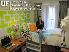 University of Florida Housing: Lakeside Room Uf Dorm, Dorm Room, Residential Complex, University Of Florida, Dorm Decorations, How To Plan, Education, Bed, Florida Gators