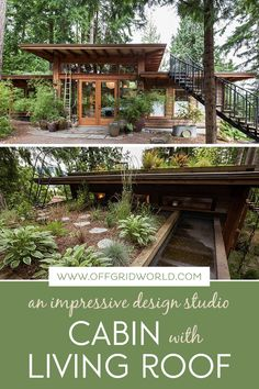 This little cabin with a living roof from David Coulson Design beautifully mixes salvaged and new elements into a stunning Japanese-style design. How's this for a little off grid inspiration? Roof Design, House Design, Cabin Design, Cottage Design, Rustic Exterior, Living Roofs, Tiny House Cabin, Cabin Homes, Little Cabin