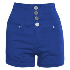 Isis Royal Blue High Waisted Turn Up Denim Shorts ($42) ❤ liked on Polyvore