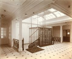 Lusitania's stair case and elevator (not sure which deck though)