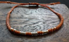 Fair Trade Thai Hill Tribe Silver Beaded Waxed Cotton Bracelet Rust