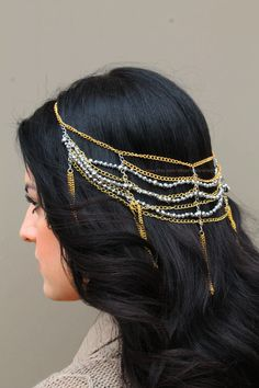 Gold chains and grey crystal beaded multistrand headpiece by LiveLoveLeaf  #hair #hairstyle #hairdo #hairchain #hairchains #headchain #headpiece #headband #headdress #fashion #hairjewelry #haircandy #hairbling #hairaccessory #hairaccessories