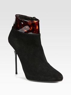 Stuart Weitzman - Close Call Patent-Trimmed Suede Ankle Boots - Saks.com $475
