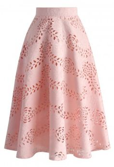 Serene Pink Rose Cutout Midi Skirt - Retro, Indie and Unique Fashion