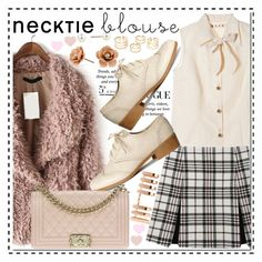 """""""necktie blouse"""" by misskouture ❤ liked on Polyvore featuring Marni, Carven, Red Herring, Pussycat, H&M, Chanel, Repossi, vintage, pastel and falltrend Carven, Marni, Red Herring, Virtual Fashion, Fall Trends, Pastel, Chanel, Blouse, Polyvore"""
