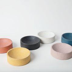 """5"""" Terrazzo Concave Vessels – Prelude & Dawn Hand Cast, It Cast, Kitchen Necessities, Pin Hole, Incense Holder, Concave, Recycled Glass, Mild Soap, Terrazzo"""