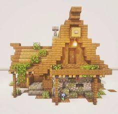 Casa Medieval Minecraft, Minecraft House Plans, Minecraft Farm, Minecraft Cottage, Cute Minecraft Houses, Minecraft House Designs, Amazing Minecraft, Minecraft Construction, Minecraft Blueprints