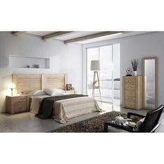Dormitorio económico con cabecero y dos mesitas (Sinfonier y espejo opcionales).