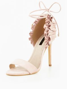 Lost Ink Frilled Detail Heeled Sandal Blending boutique styles with a high street influence, Lost Ink present this beautiful frilled detail heeled sandal. The pretty two-part stiletto taps into this season's crush on nude tones and features sleek straps, sexy tie-up laces that wrap around the ankle and rows of romantic ruffles to the concealed heel.Wear with your party edit for a fun, flirty and feminine finish.Lining: Other MaterialsMaterial: Other MaterialsSole: Other MaterialsUpper: Ot...