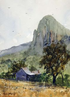 Plein air watercolor painting, Glen Davis to the North 10.5″ x 14.5″ by Joe Cartwright.