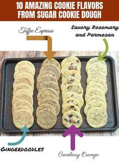 10 Ways to Fancy Up Sugar Cookie Dough! Turn refrigerated sugar cookie dough into gourmet cookie flavors by adding simple ingredients! Cookie Dough Recipes, Cookie Flavors, Sugar Cookie Dough, Sugar Cookies, Sweet Desserts, No Bake Desserts, Dessert Recipes, Cranberry Orange Cookies, Gourmet Cookies