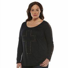 Rock & Republic® Studded Cross Tee - Women's Plus Size