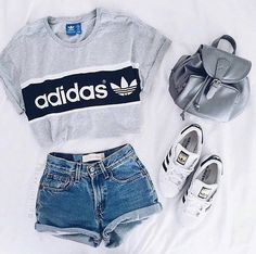 size 40 01c8c 0a4a9 Shirt adidas t- top addidas grey t- denim shorts adidas top crop tops  shorts high waisted shorts Buy Online Womens Top and Black T-shirt Women  Ladies at ...