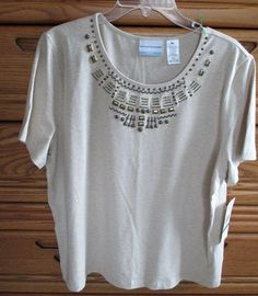 For sale in our eBay store...click photo for details!  NWT Alfred Dunner Embellished Shirt Top Petite PXL Autumn Sunset Oatmeal Tan NEW #AlfredDunner #ShortSleeve #sunset #oatmeal #tan #beige #shortsleeve