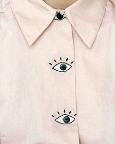 Struggling to keep my eyes open | Monday | Shirt by Hannah Kristina Metz Studio #WideEyed #awake #Monday #struggles #embroidery #fashion #style #shirt #blue #blush #modern #jewellery #jewelry #stylist #eyes #design