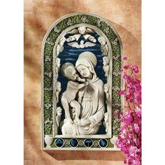 """Design Toscano Madonna And Child Bas-Relief 19"""" Hand Painted Wall Sculpture #DesignToscano #Traditional"""