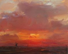 LANDSCAPE Sunrise Orange Red - Paintings by Roos Schuring Painter Pleinair