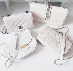 white on white handbags. valentino, celine and chanel.